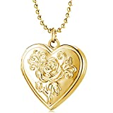 Love Heart Locket Necklace Pendant,Rose Flower Memories Photo Locket Charms,Memory Locket Gold Plated