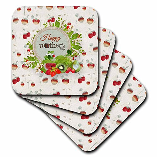 3dRose Beverly Turner Mothers Day Design - Happy Mothers Day, Strawberries, Watermelon, Kiwi, Strawberry Design - set of 8 Ceramic Tile Coasters (cst_280559_4) ()