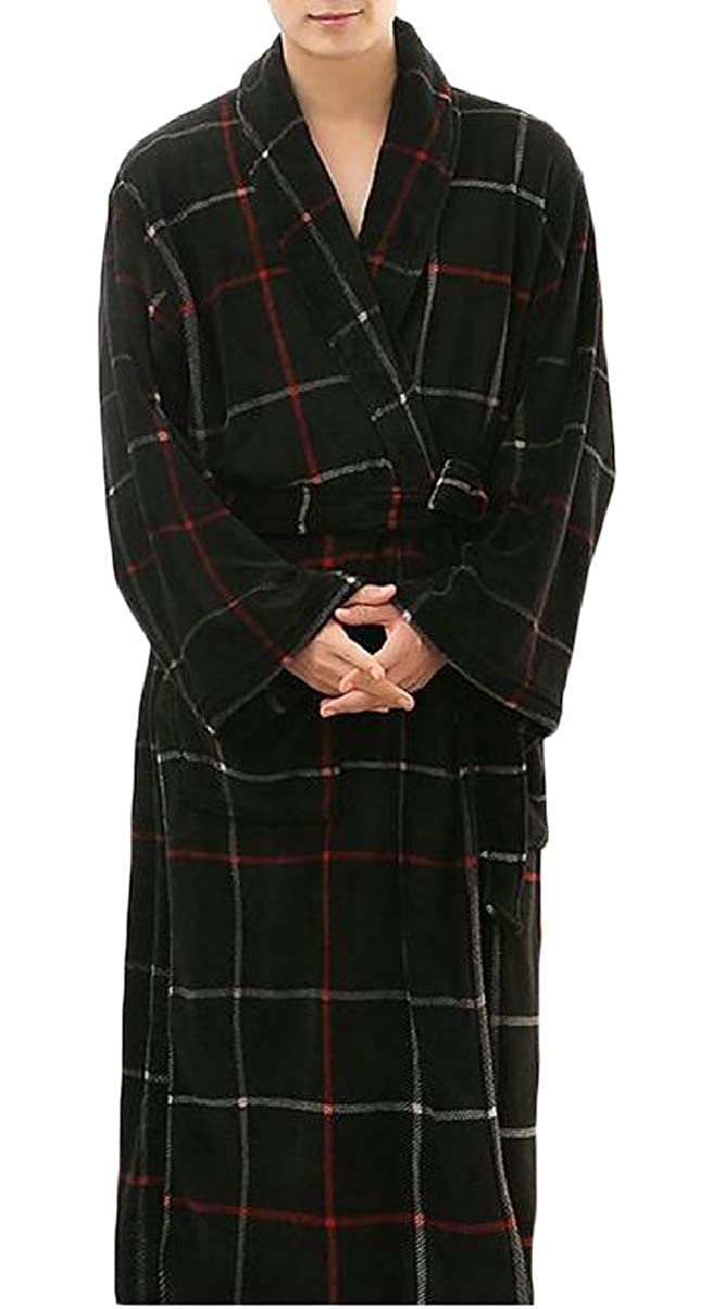 ZXFHZS Mens Longline Thick Flannel Long Sleeve Robe Homewear Belted Bathrobe