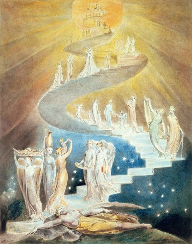 ArtWall William Blake 'Jacob's Ladder ' Unwrapped Canvas Art, 18 by 22-Inch