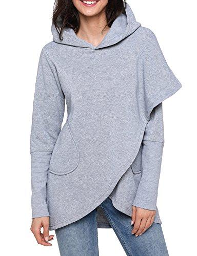 FIYOTE Women Casual Long Sleeve Winter Hooded Hoodie Pullover Sweatshirt Tops X-Large Size Grey