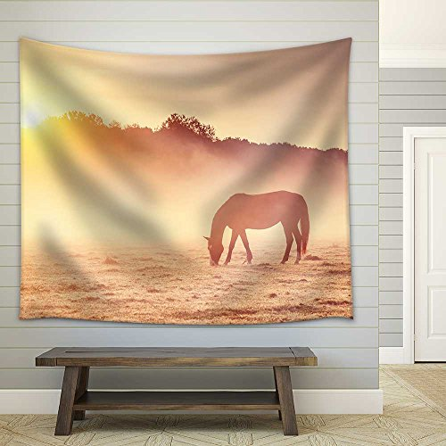 Arabian Horses Grazing on Pasture at Sundown in Orange Sunny Beams Fabric Wall