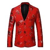 iCham Men Blazers Printed Sports Coat Elegant Slim Fit 1 Button Slim Fit Suit Jacket