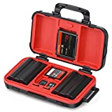 Camera Battery and Memory Card Storage Case, SD CF Memory Cards Holder Case, Waterproof & Shockproof Plastic Tank Organizer for Nikon, Canon Camera Batteries, Good for Outdoor Travel Use