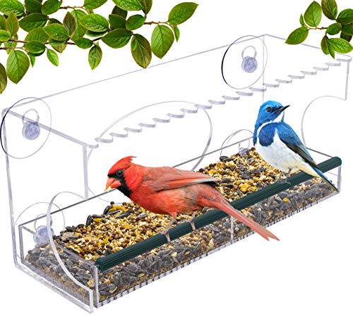 Sorbus Bird Feeder - Window Birdhouse Feeders for Outside with Tray, Drain Holes, Extended Perch, Suction Cups - Crystal Clear Acrylic (Rectangular Wide - Ibm Feeder