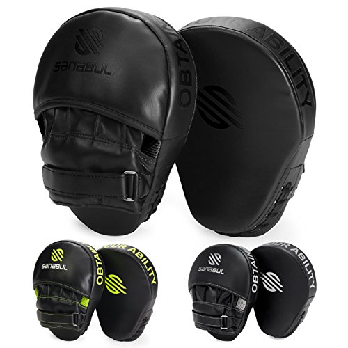 Sanabul Essential Curved Boxing MMA Punching Mitts (AllBlack)