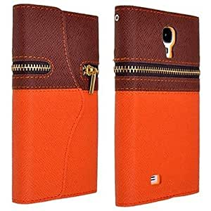 Mini - TPU Wallet Case with Zipper for I9500 S4 ,Color: Orange