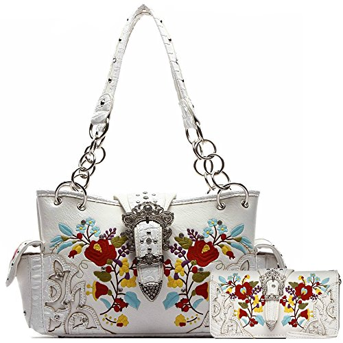 Western Style Buckle Embroidery Flower Concealed Carry Purse Handbags Women Shoulder Bag Wallet Set White (Handbag Heart Winged)