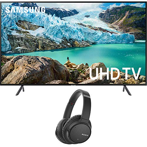 Samsung 55 inch RU7100 LED Smart 4K UHD TV 2019 Model Bundle with Sony WH-CH700N Wireless Noise Canceling Bluetooth Headphones Black
