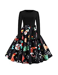 FarJing Women's Dress Long Sleeve Christmas Vintage Print Evening Party Dress