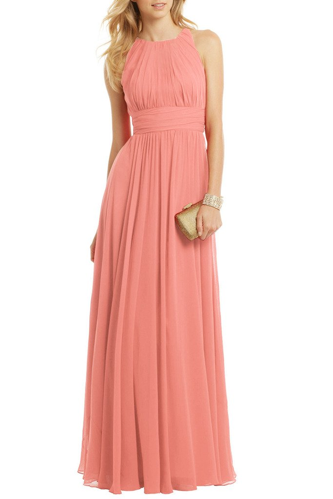 Ssyiz Women's Sleeveless Ruched Chiffon Maxi Party Dress Evening Gown Pink 10