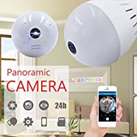 Wifi Hidden Camera LED Bulb Light 360-Degree Fisheye Panoramic Network Wireless Home Security 960P IP Camera White, Home Security System Pet Monitor&Baby Camera,Two Way Talking,Motion,small