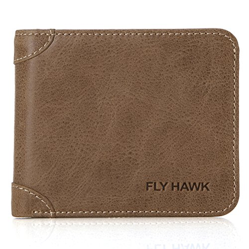 FlyHawk Small Thin Leather Wallets Purse, Luxury Mens Leather Wallets Khaki Mini Wallets