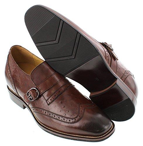 Toto A60121-3 Pouces De Hauteur - Hauteur Augmentant Chaussures Dascenseur - Chaussures Habillées En Cuir Marron