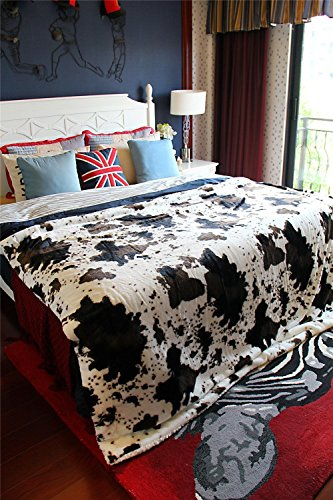 DaDa Bedding Luxury Western Rodeo Farm Animal Cow Hide Skin White Brown Print Pattern Motif Design Faux Fur with Sherpa Backside Fleece Throw Blanket - Super Soft Warm Plush Luxe Solid Toss - 63