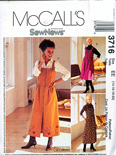 - McCall's 3716 ©2002 Misses/Miss Petite Jumper in Two Lengths; Size EE 14,16,18,20