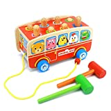 DANNI Kids Wooden Multi-function Toys Classic Pull Toy Happy Animal Bus Whac-a-Mole Mallet Toy Toddler Unisex-Baby Play With Friend