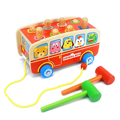 DANNI Kids Wooden Multi-function Toys Classic Pull Toy Happy Animal Bus Whac-a-Mole Mallet Toy Toddler Unisex-Baby Play With Friend by DANNI