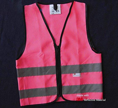 Salzmann High Visibility children reflective vest for outdoor sports, High Viz safety vest for Running, Cycling, Walking, Skating, Skiing, Skateboarding. Adjustable, lightweight, elastic Reflective Belt Vest for children, Kindergarten, Pupils, Junior student, Senior student, 3~7 years old - Pink,XS (Belt Skate Tool)