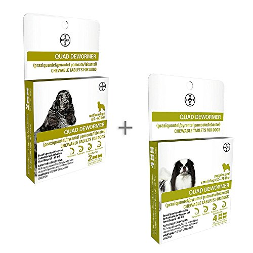 Bundle Bayer Quad Chewable Dewormer for Medium Dogs, 26-60 lb, 2 doses, 68 mg Each & Small Dogs and Puppies, 4 doses, 22.7 mg Each - Single Pack Each