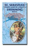 Womens Swimming Saint Sebastian Pewter Medal on 24 Continuous Chain, Double-Sided Medal