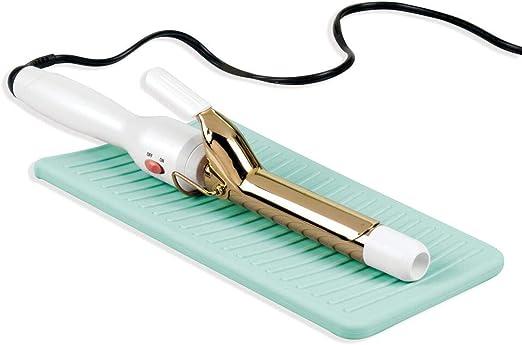 mDesign Protector de silicona para plancha del pelo o tenacillas – Práctico estuche de viaje o para aparatos calientes en el baño – Bolsa de silicona para proteger el lavabo – azul