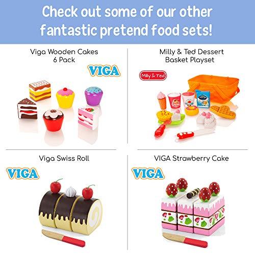Milly & Ted Juego de postres de Madera Pasteles y Helados - Juguete de Madera para niños Playfood - Juego de Alimentos para Pretender niños