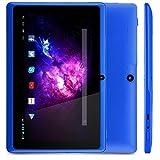 Alldaymall A88X Tablet de 7 Pulgadas (2017 Nuevo) - Android 4.4, Quad Core,8 GB ROM, HD 1024x600, Wi-Fi, Bluetooth, OTG,Soporte para juegos 3D - Azul (3rd Generación)