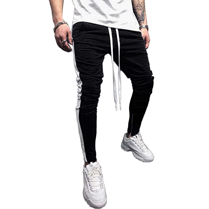 d9a35cc78390 Image Unavailable. Image not available for. Color  FUNOC Mens Gym Slim Fit Trousers  Tracksuit ...