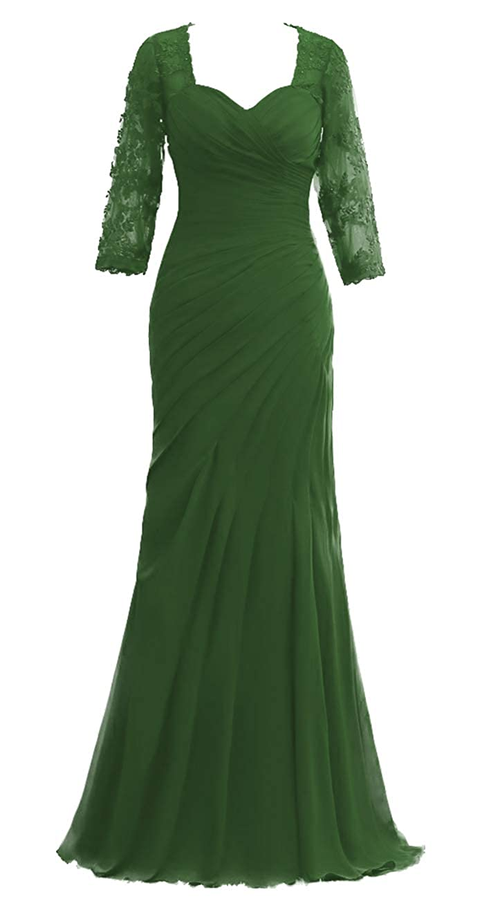 Dark Green JAEDEN Mother of The Bride Dresses Long Sleeves Evening Gowns for Women Formal