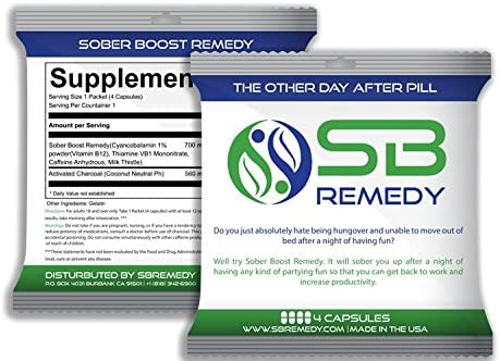 SB Remedy Hangover Cure Charcoal Pills – All Natural Proprietary Blend – Travel Packs – 10 Packs