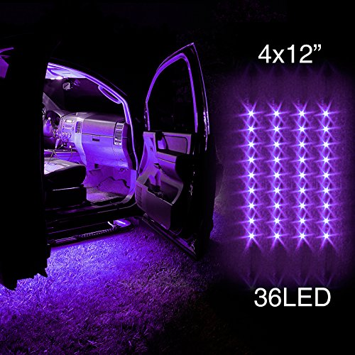 PURPLE 4pcs 36 LED Waterproof Three Mode Neon Accent light Kit for Car Interior Trunk Truck Bed Bush Fender (Truck Bed Fenders compare prices)