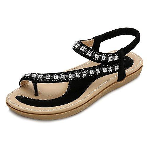 Wollanlily Women Summer Beach Bohemia Flat Sandals Rhinestones T Strap Ankle Strap Flip-Flop Thong Shoes Black-02 US 5.5