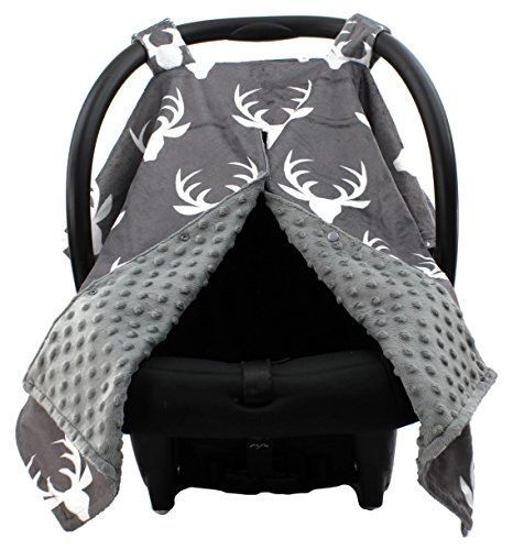- Dear Baby Gear Deluxe Car Seat Canopy, White Antlers, Grey Minky Dot