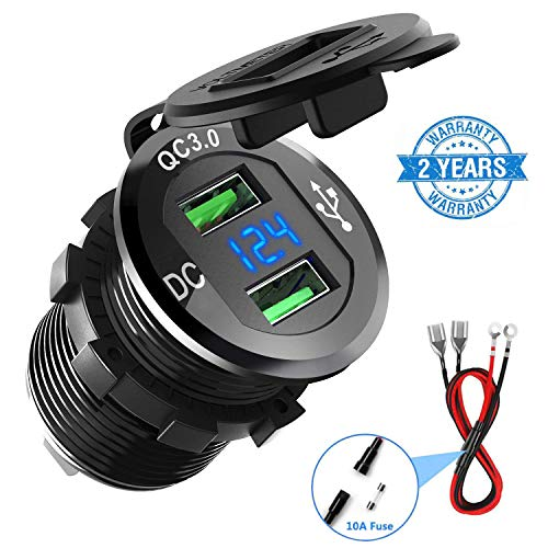 Quick Charge 3.0 Car Charger, CHGeek 12V/24V 36W Aluminum Waterproof Dual QC3.0 USB Fast Charger Socket Power Outlet with LED Digital Voltmeter for Marine, Boat, Motorcycle, Truck, Golf Cart and More (Socket Lighter Usb Cigarette)