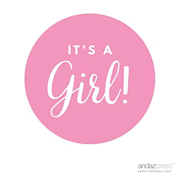 Amazoncom Andaz Press Round Circle Girl Baby Shower Gift Label