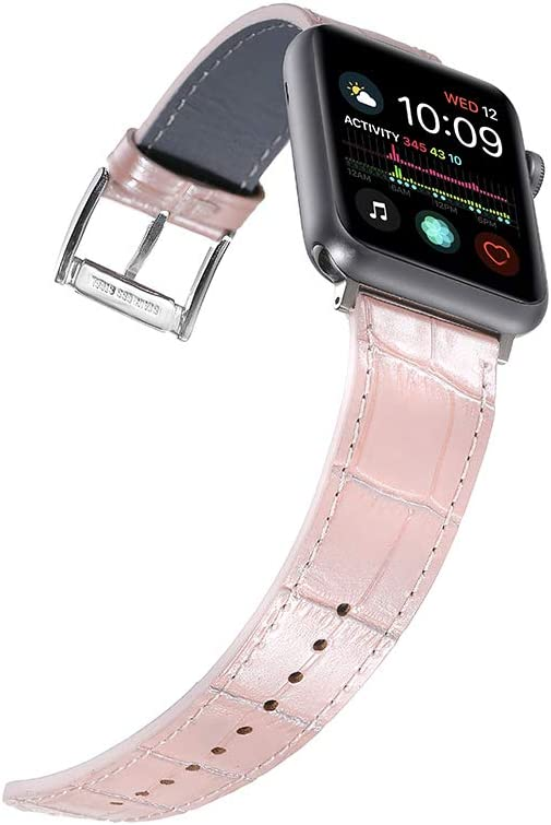 Faytop Shiny Surface Leather Band for Apple iWatch 38mm Series 3/2/1 Women,Alligator Grain Leather Strap for Apple Watch Band 40mm Series 4/5 Men iWatch Wristband Rose Pink