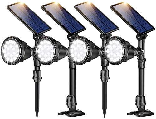 ROSHWEY Solar Spot Lights Outdoor, 18 LED Adjustable Waterproof Solar Landscape Lights Solar Spotlight Flood Lights for Garden Landscape Patio Porch Wall Deck Garage Cool White,4Pack