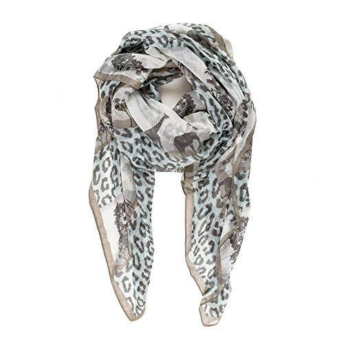 Scarf for Women Lightweight Fashion Summer Fall White Leopard Giraffe Animal Scarves Shawl Wraps by Melifluos (P015-6)