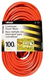 Woods 0820 12/3 Outdoor Multi-Outlet Extension Cord, 100-Foot, Orange