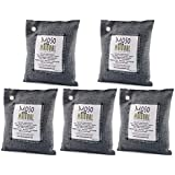 5 Pack Moso Natural 200 gm Air Purifying Bag Deodorizer. Odor Eliminator for Cars, Closets, Bathrooms and Pet Areas. Absorbs and Eliminates Odors. Charcoal Color