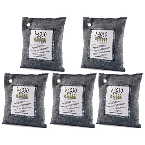 5 Pack Moso Natural 200 gm Air Purifying Bag Deodorizer. Odor Eliminator for Cars, Closets, Bathrooms and Pet Areas. Absorbs and Eliminates Odors. Charcoal - It Bag Air