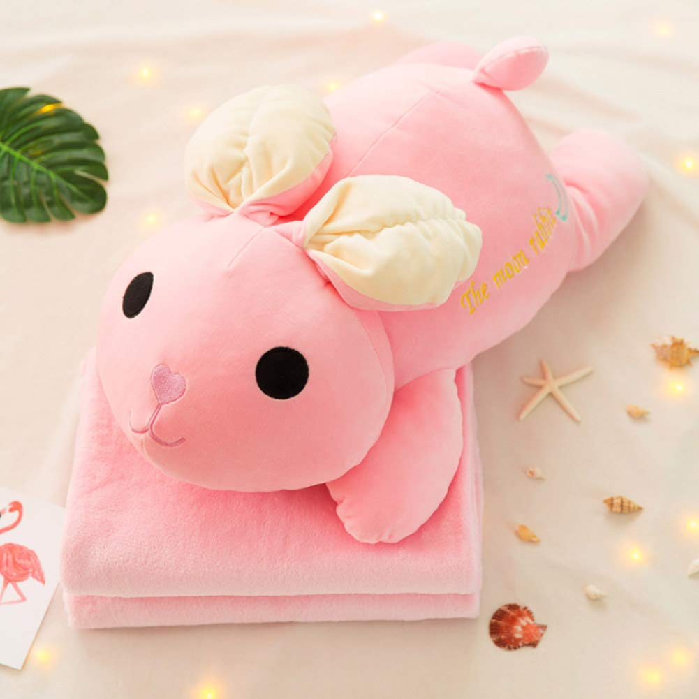 Plush Toy Creative Cartoon Multi-Function air Conditioning Blanket Doll with Blanket Pillow-Pink