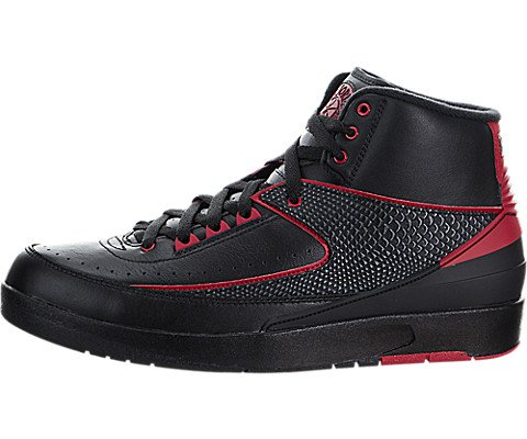 Nike Jordan Mens Air Jordan 2 Retro Black/Varsity Red Basketball Shoe 8 Men US