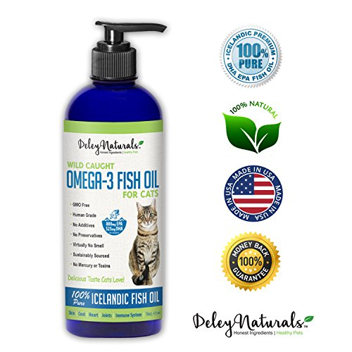 Wild Caught, GMO Free Omega 3 Fish Oil for Cats, Reduces Shedding, Supports Skin, Coat, Joints, Heart, Brain, Immune System, Highest EPA & DHA Potency, Only Ingredient is Fish, 16 oz Pump Bottle