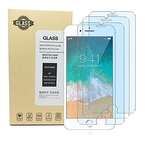Screen Protector iPhone 8 7 6S 6, Anti Blue Light Screen Protector [ Eye Protect ] [ Touch Screen Accuracy ] [Bubble Free] Tempered Glass for iPhone 8/7 /6s/ 6 [3 Pcs] ()