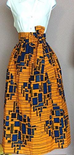Esty Ankara African Print Long Women Skirt With Two Pockets And A Belt Size M L Xl Xxl
