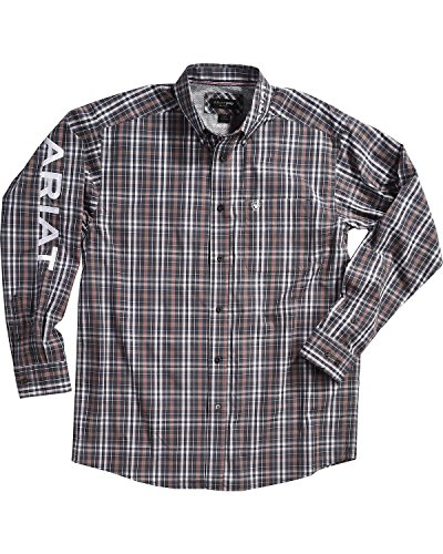 Ariat Men's Antioch Plaid Pro Series Classic Logo Shirt Grey X-Large (Tee Logo Plaid)