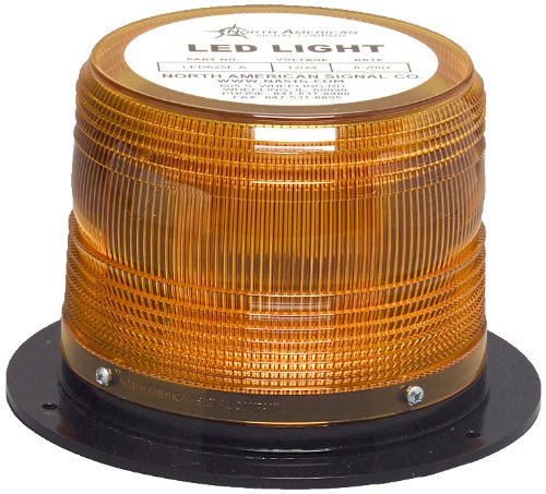 North American Signal LEDQ375-A Class 1 LED High Power Warning Light with Permanent Mount, 12/24V, 1.6A Current, Amber by North American Signal