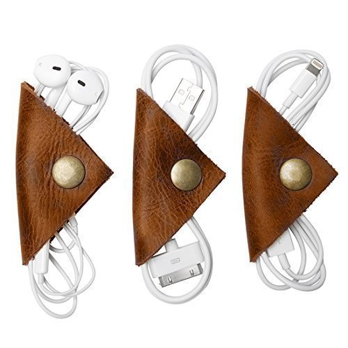 Rustic Cord Keeper (Cord Wonton) Leather Cord Organizer 3-Pack Handmade by Hide  Drink :: Bourbon Brown